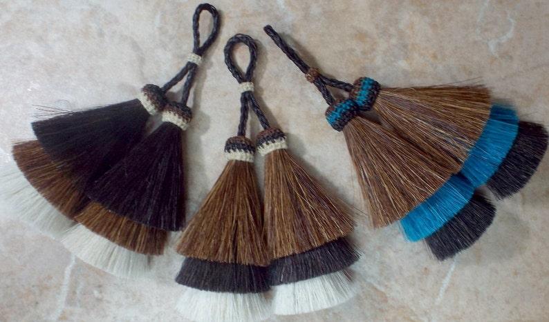 Exclusive 2-tone horsehair tassel purse tassel Black//brown Horsehair Tassel