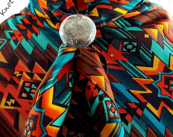 Southwest design, Wild Rag, Cowboy Scarf Wild Rag, Scarf, Bandana, 36 inch, SILK,  Bold TEAL, Silk Wild Rag, Bandana, Cowboy Silk Wild Rag