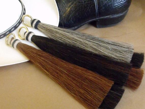 """Gray  horsehair shoo fly horsehair tassel 12/"""" long girth Horsehair tassel"""