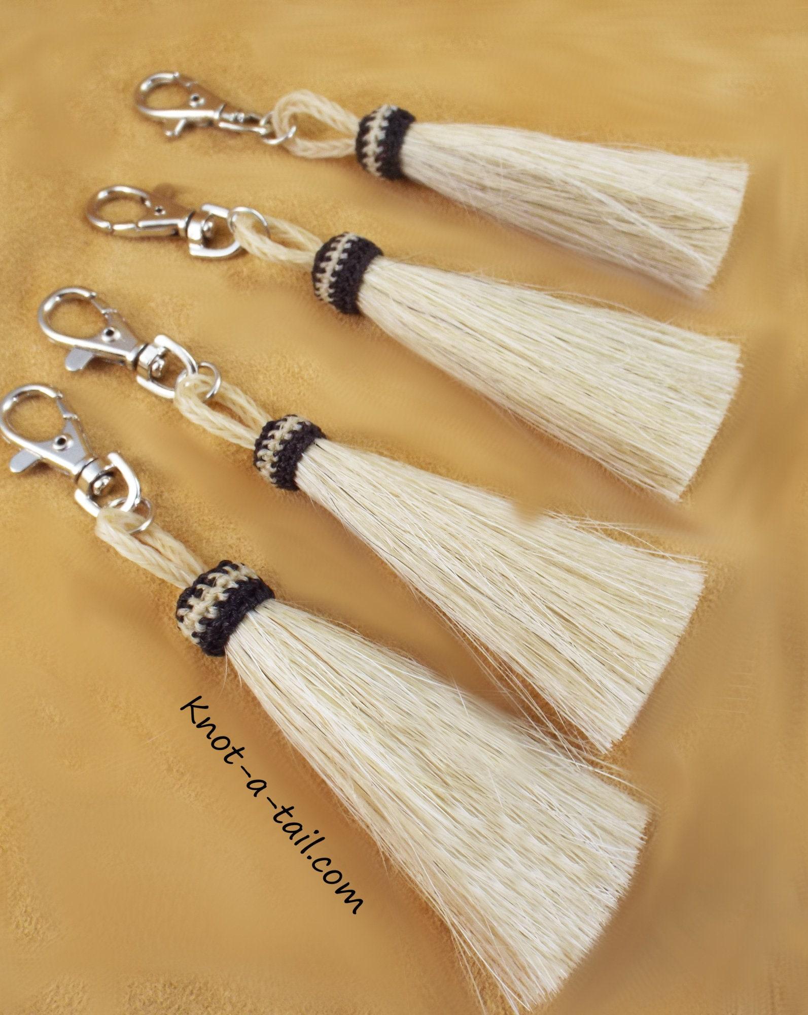 Horsehair tassel, Swivel snap, white, 6 INCH, horsehair tassel, tassel, Snap-on bags, purse, horsehair tassel, Bridle tassel, easy-on,