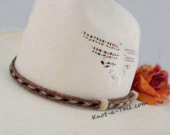 Horsehair hat band, Narrow, Cowboy hat horsehair hat band, No tassels, natural colors,  horsehair, Cowboy hat band, Western hat band, Rodeo