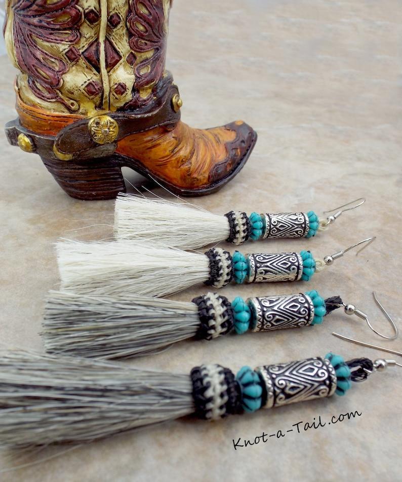 166bd1fe7a2 Authentic Horsehair earrings, Western earrings, etched beads, blue beads,  beaded earrings, horse hair tassels, Equestrian earrings, Cowgirl