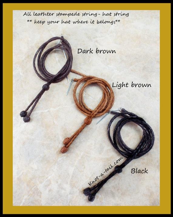 Goupille Bonnet String marron//noir//blanc chapeau String Crin Stampede string