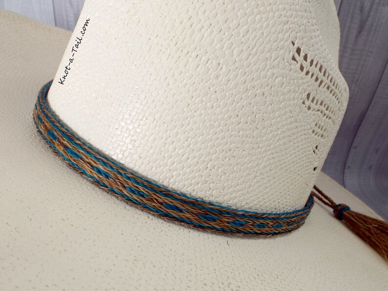 7c0ec9530ab Turquoise Horsehair hat band Cowboy hat band 5 strand