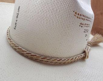 Horsehair hatband, Natural white/cinnamon edge, hatband, Mulit- strand braid, 2 Side tassels, horsehair Cowboy hatband, adjustable