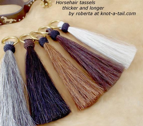 Brass O-ring, Horsehair tassel, thick, tassel, 7 inch, horsehair tassel, Hitched top, Cinch tassel, purse tassel, Shoo fly, horsehair tassel