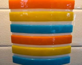Tack-Fused Glass Night Light - Blue, Yellow & Orange