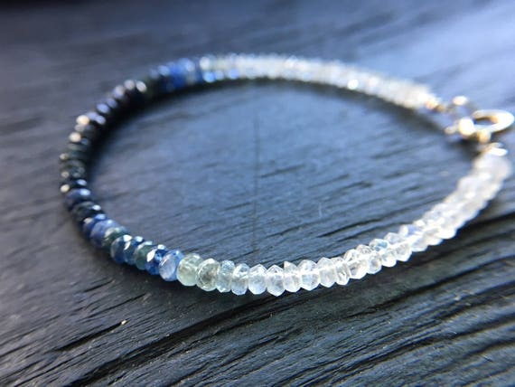 Minimalist Chic Layered Bracelet in 14 carat Gold Filled and Semi-precious Natural Tundra Sapphire Gemstones