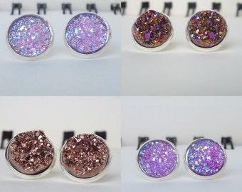 4 Styles of Druzy Stud Earrings (Set 2 of 2)