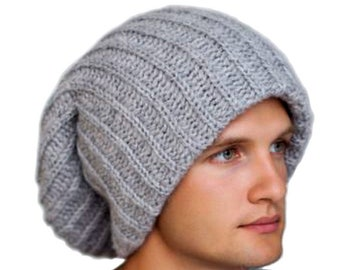 Mens winter hat-Gray Tam-Winter hat for dreadlocks-Gray oversized slouchy  beanie-Beanie winter hat-Extra large hat-Mens cold weather hat cap 973b68631fd