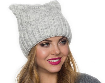 dafed014 Pussy hat lined with fleece, Cat ear hat, Pussycat hat, Cat ear beanie, Cat  hats for women, Cat beanie, Pussyhat, Beanie hat for women,