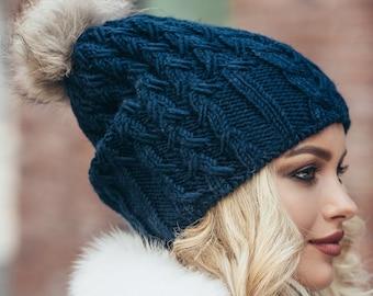e38222b5f887f Pom pom hat fleece lined-Fur pom pom slouchy beanie-Winter hats for women-Slouchy  beanie women-Pom pom beanie-Slouchy hat fur pom-Pom hats
