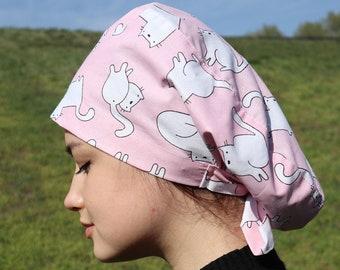 Scrub cap for women Slouchy scrub hat Cat scrub cap Hair cover medical Surgical cap Nurse cap Nurse Scrub Hat Gift for nurse Gift for doctor