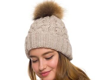 4de77f3401a56 Fur pom pom hat fleece lined