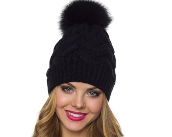 2d1d3b3aa03 Black pom pom beanie Black pom winter hat Womens black pom pom beanie  Fleece lined beanie womens Ski beanie women Fur pom pom hat Women hat