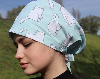 Scrub cap for women, Slouchy scrub hat, Cat scrub cap, Hair cover medical, Surgical cap, Nurse cap, Nurse Scrub Hat, Gift for nurse, Cat hat