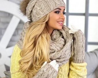 0a55467d4c7 Hat scarf gloves set
