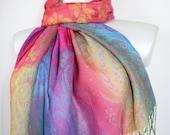 Colorful flower paisley soft pashmina scarf Shawl Festival pashmina scarf Gift for women Rainbow scarf Rainbow shawl Paisley pashmina scarf