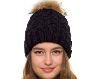 b44869f53e9 Pompom hat lined with fleece Knit beanie Womens winter hat Chunky hat Fur  pom pom beanie Pom pom hat women Gift for wife Skiing hat Knit Hat