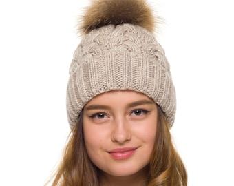 dc2bc405 Pom pom hat women, Fur Pom Pom Hat fleece lined, Knit beanie, Women winter  hat, Chunky hat, Knit Beanie Hat Chunky, Beanie, Fur pompom hat