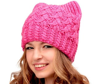 Pussy hat-Cat ears hat-Cat beanie-Pussyhat-Womens march hat-Cat hat-Pink pussyhat-Cat hat-Cat lover gift-Pussycat hat-Cat ears hat-Cat ears