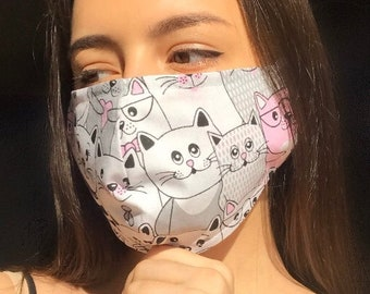 Face Mask with nose wire, Cat Face mask, Face Mask washable, Cotton Face Mask, Reusable Face Mask, Adult Face Mask, Animal face mask