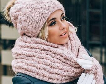 7905ad5d5cd Pom Pom Hat lined with fleece Mittens Infinity Scarf Set Pink Fur Pom Pom beanie  Winter Hat Scarf Mittens Gloves set