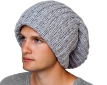 More colors. Mens winter hat-Gray Tam-Winter hat for dreadlocks-Gray  oversized ... 2676303059b