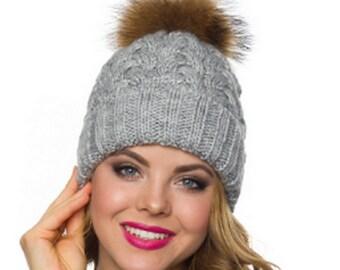 0b12237788f25 Fur pom pom hat Winter hats women Wool hat women-Christmas gift for women-Pompom  hat-Winter hats for women-Cable knit hat-Fleece lined hat