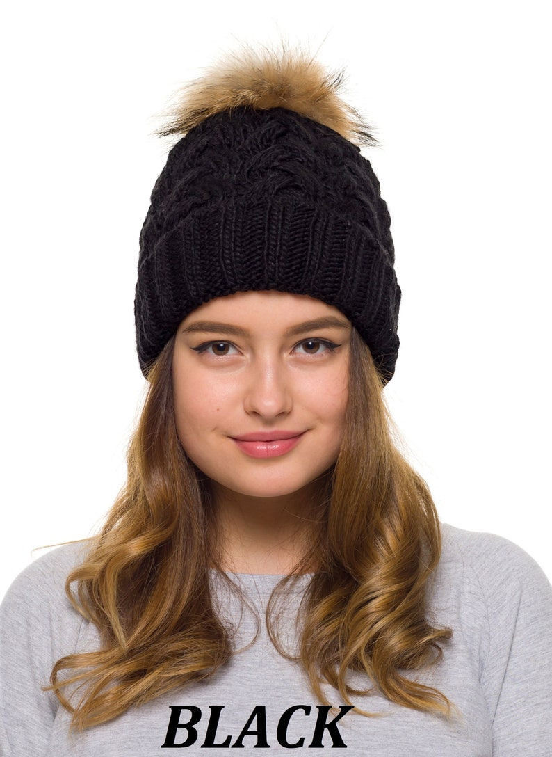 Pompom hat lined with fleece Knit beanie Womens winter hat  b88e65a11eb