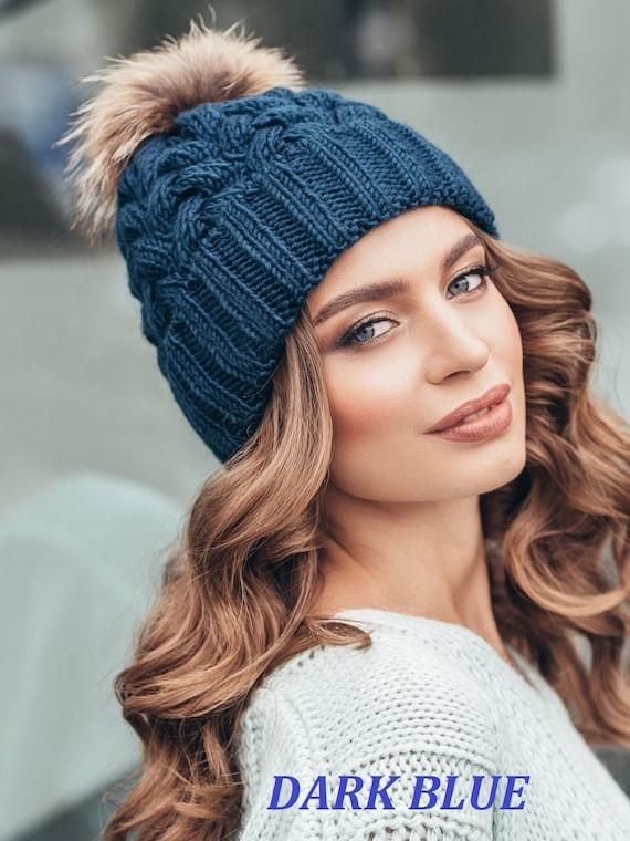 Pompom hat fleece lined-Pom pom hat-Winter hat for women-Knit  26705dad40d