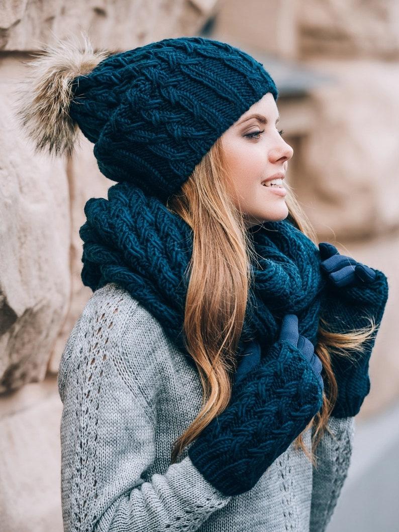 Winter hat scarf and gloves set-Pom pom beanie infinity scarf Dark Blue