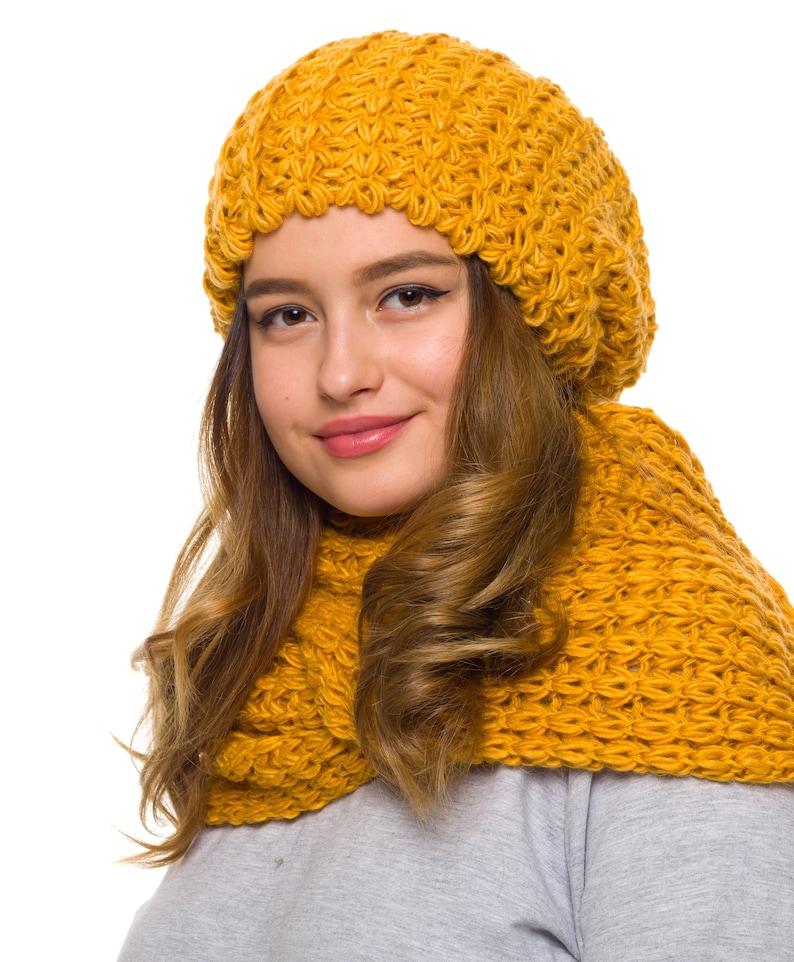30bf585d57c4ab Hat Scarf set Slouchy beanie women Knit infinity scarf | Etsy