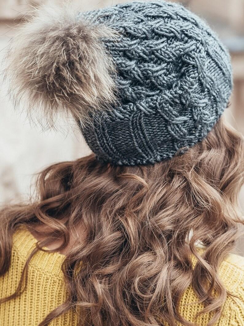 8e569f25d61 Pom pom slouchy beanie-Winter hat for women-Real fur pom pom