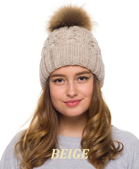 Pom pom hat women Fur Pom Pom Hat fleece lined Knit beanie  04d68d8d9eb