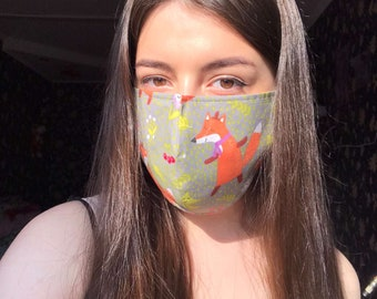 Fox Face masks, Breathable Washable Reusable 100% Cotton Face mask, Mask with a nose clip Handmade Fabric Face Mask Adult Cloth Mask Unisex