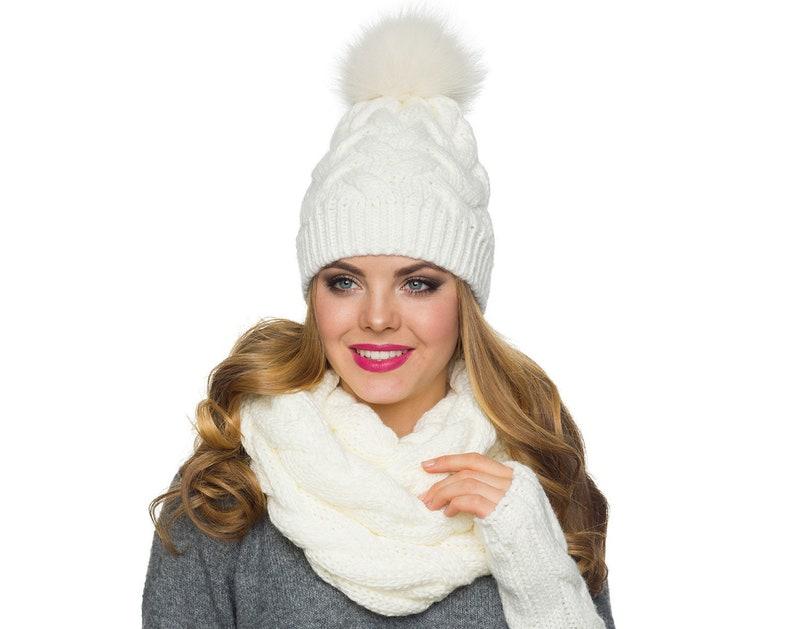 1d1b373dd13 Winter hat scarf gloves set Big pom pom hat Knit Infinity