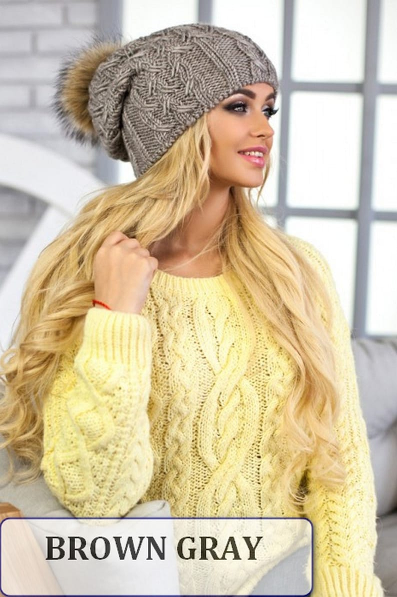 3a2d6c07806 Pom pom hat beanie hat Brown slouchy beanie Cable hat Fur
