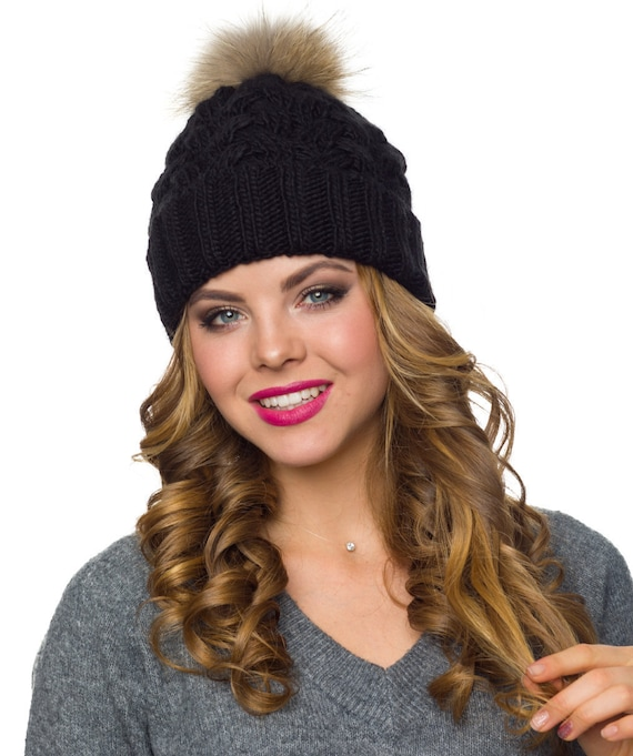 04a591061c1 Black winter windproof real fur pompom hat with fleece fur