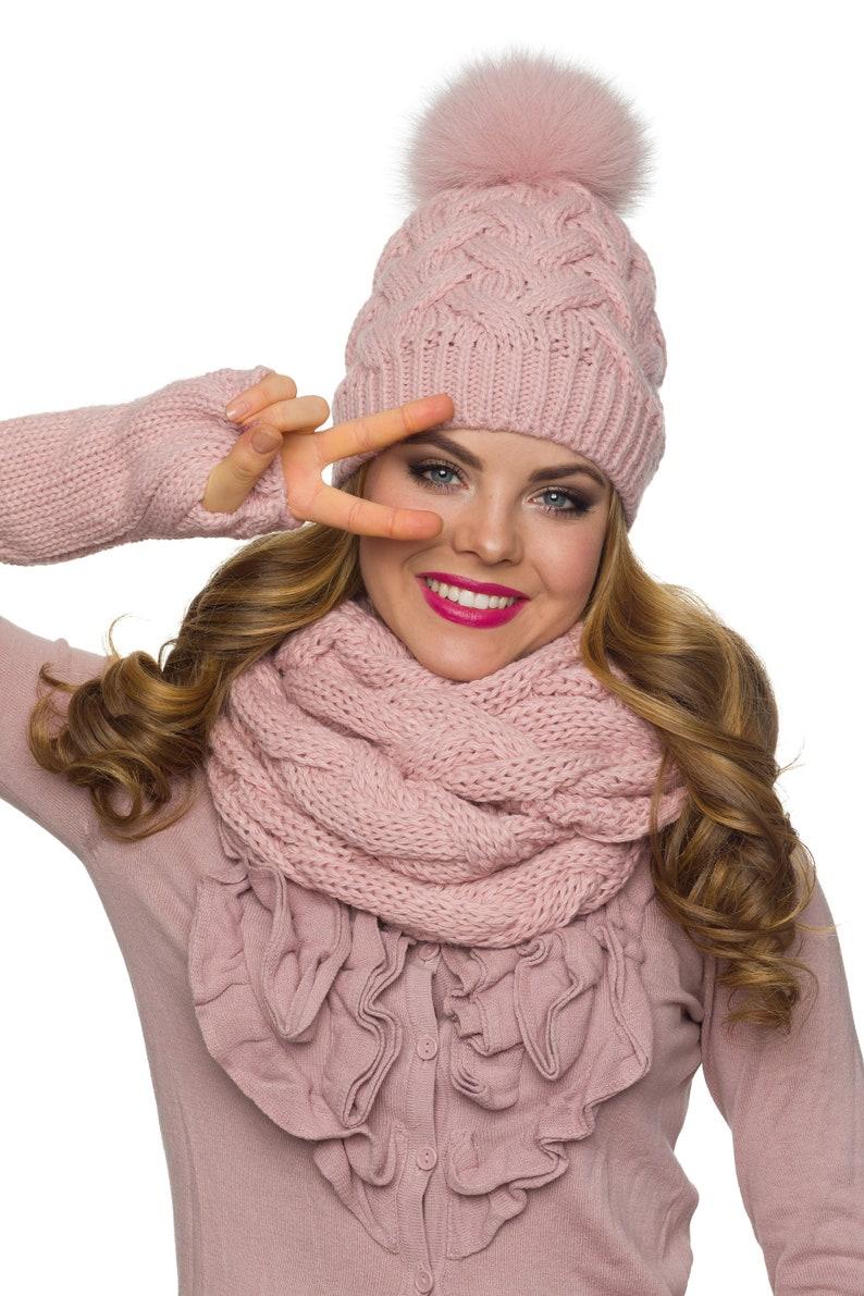 c25d8505c63 Pom pom hat with fleece Winter hat for women PomPom beanie