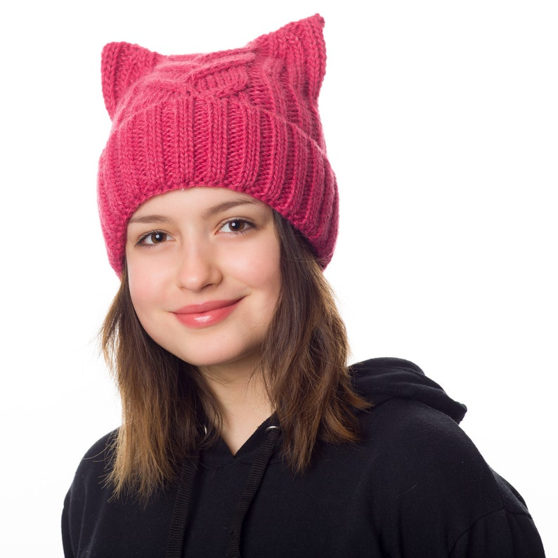 3381aec48a3 Pink pussyhat lined with fleece Pussyhat Pussy hat for