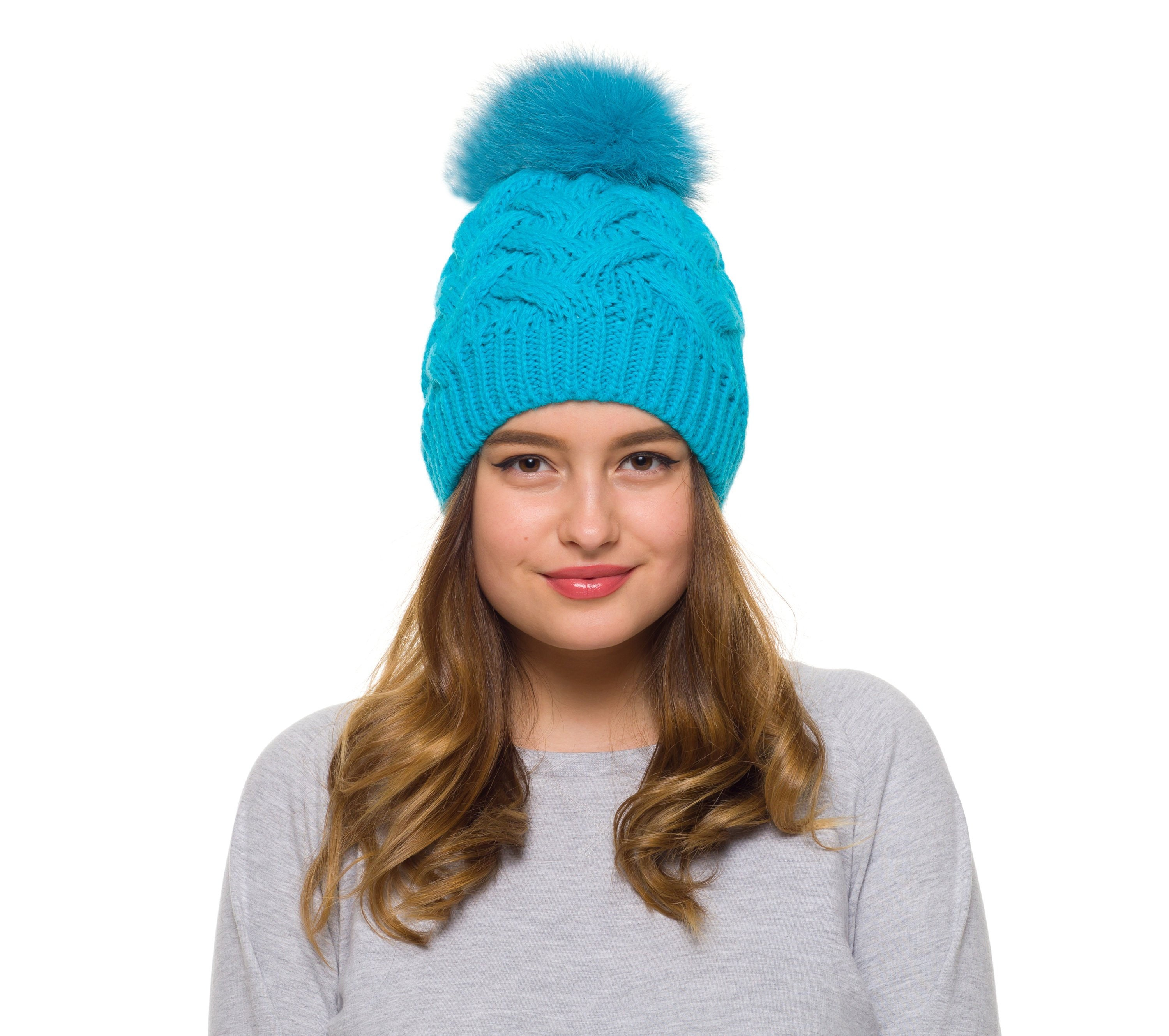 Winter hat Large Pom Pom hat Fleece lined hat Pompom  61b0eee3ae7f