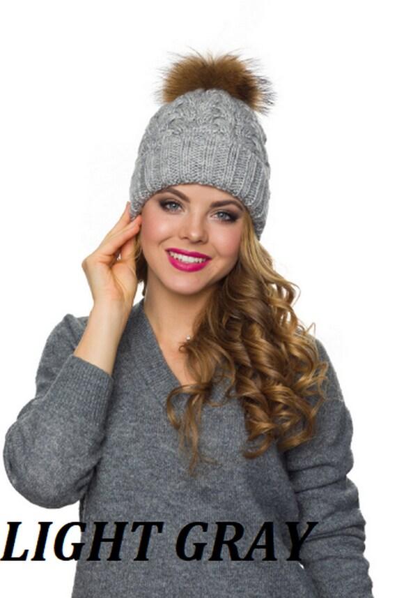 Fur pom pom hat Winter hats women Wool hat women-Christmas  c8006ded0