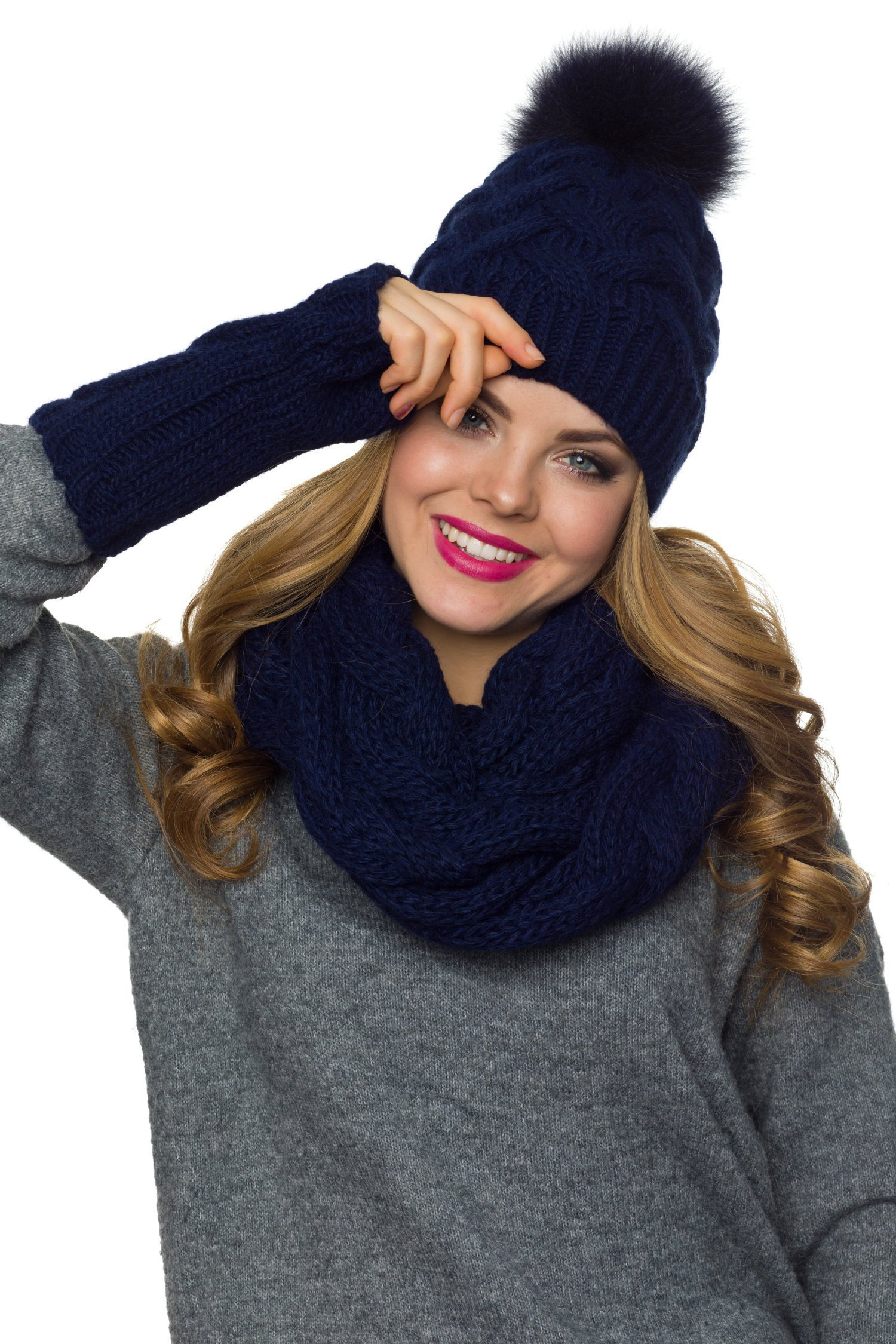 Hat Scarf Gloves Pom pom hat Infinity Scarf Mittens Womens  d620877191a