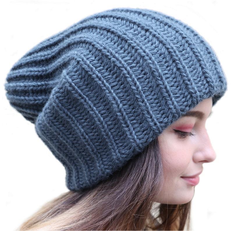 Slouchy winter hat Dread tam hat Oversized beanie Winter benie hat for dreads Extra large hat Wool hat women Hat for big head Beige beanie