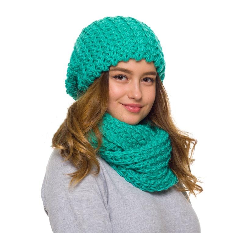 30bf585d57c4ab Hat Scarf set Slouchy beanie women Knit infinity scarf   Etsy