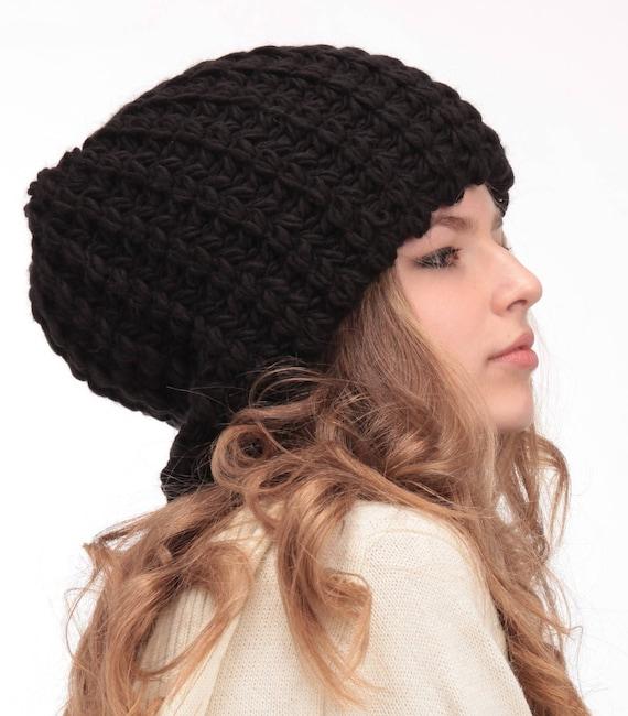 Oversized beanie-Big head hat Black tam-Womens winter slouchy  080e69a56e2