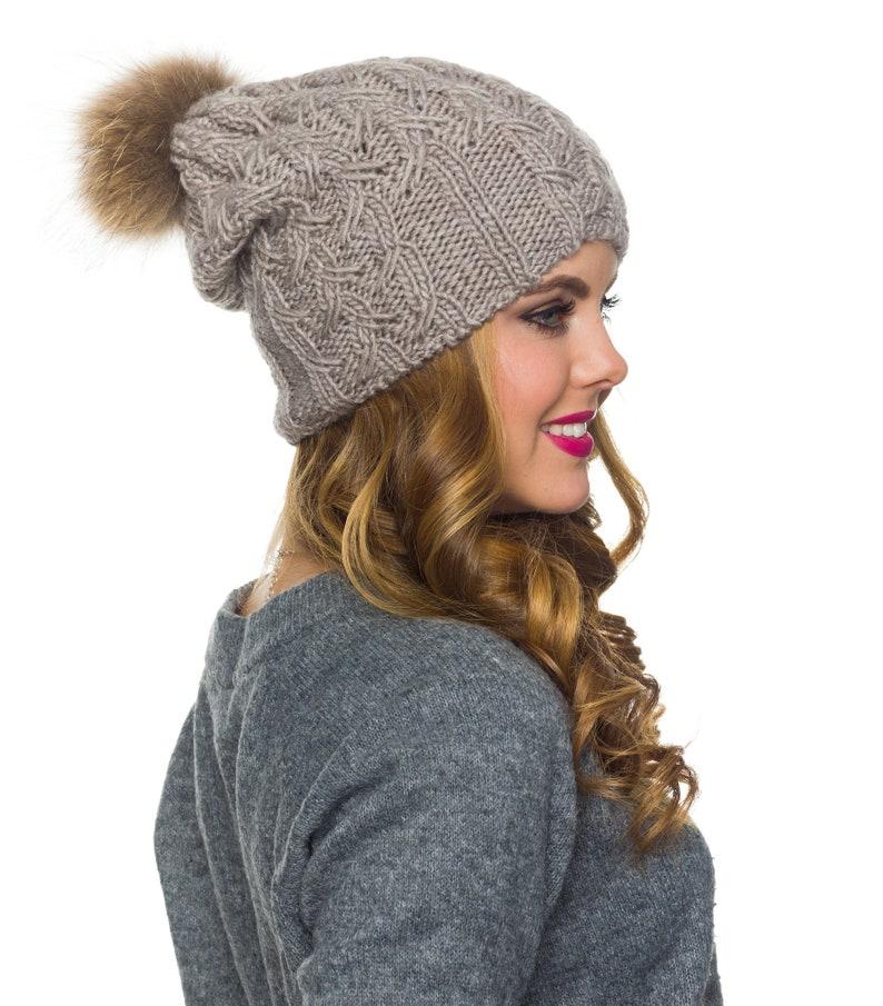20d3eac69b1 Pom pom hat fleece lined-Fur pom pom slouchy beanie-Winter