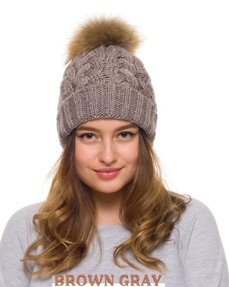 Pom pom hat women Fur Pom Pom Hat fleece lined Knit beanie  353cc5b04