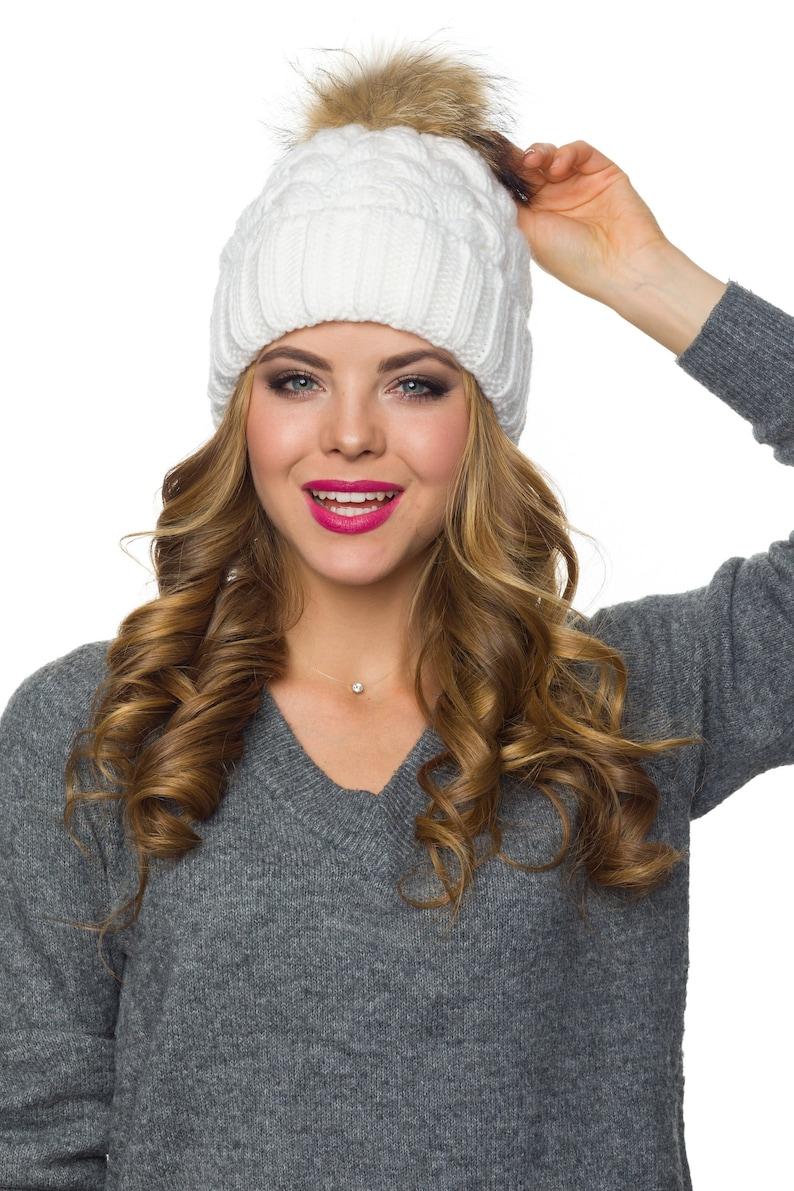 b13fc4089b7 Fur pom pom fleece lined beanie Pom Pom Hat Knit beanie